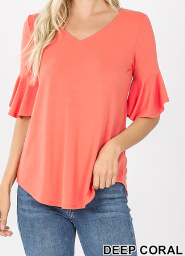 Short Bell Sleeve V-Neck Round Tail Top