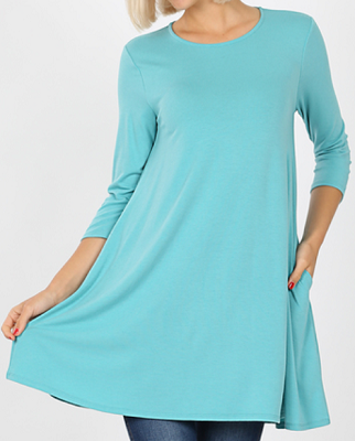 Scoop Neck 3/4 Sleeve 36in. Dress Tunic with Pockets