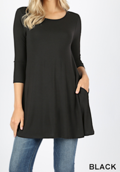 Scoop Neck 3/4 Sleeve 29in Tunic with Pockets