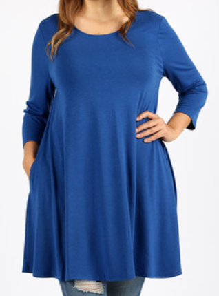 Scoop Neck 3/4 Sleeve 33in. Tunic with Pockets