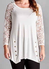 Asymmetrical Lace Sleeve Top w/Button Accent